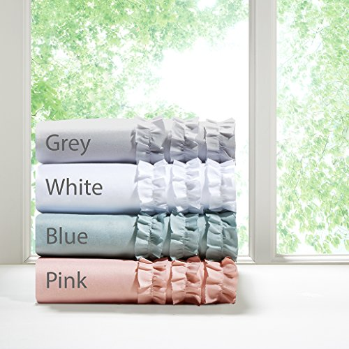 Intelligent Design Ruffled White Sheet Set, Cottage/Country Bed Sheets Twin, Bed Sheets Set 4-Piece Include Flat Sheet, Fitted Sheet & 2 Pillowcases