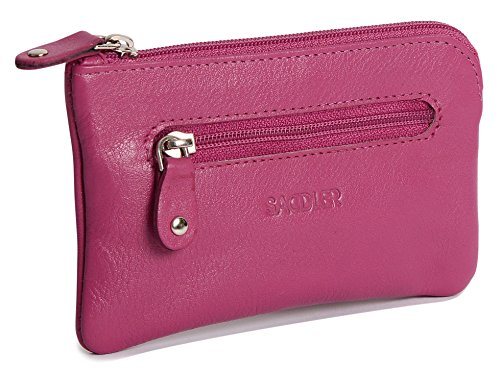 Zip Pouch Wallet (SADDLER Womens Compact Real Leather Zipper Top Coins and Key Purse - Magenta)