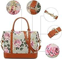 463cf05c9d5 Women Ladies Canvas Weekender Bag Overnight Carry-on Tote Duffel in Trolley  Handle (Flower-grey). Loading Images.