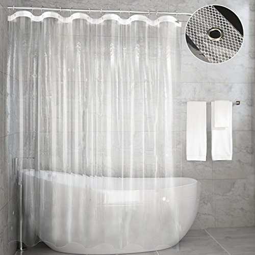 Feagar Clear Shower Curtain Liner, Mildew Resistant Waterproof Anti-Bacterial 72x72 Inch, PVC Free, Non Toxic,Odorless Bathroom Curtain for Bathtub or Shower Stall (Enhanced Clear Transparent)