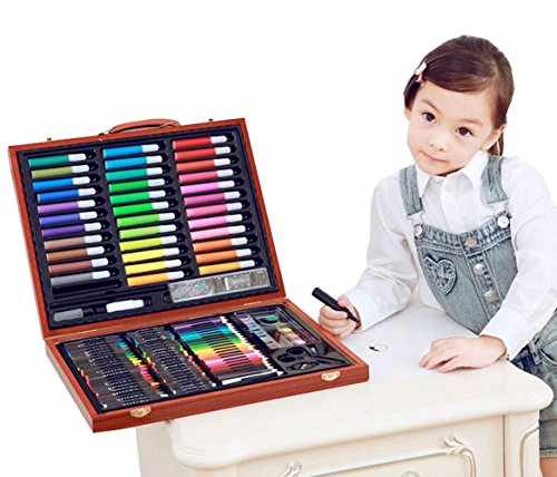 150 Pieces of Children's WoodenBox Painting Painting Brush Set Watercolor Pen Tool Box Almighty Edition Primary School by lucyliu04