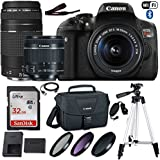 Canon EOS Rebel T6i DSLR Camera with Canon EF-S 18-55mm f/3.5-5.6 IS STM Lens, Canon EF 75-300mm f/4-5.6 III Lens, 32GB Memory, Canon Bag, 3 HD Filters, Grip Strap, USB Cable and 50 Inch Tripod