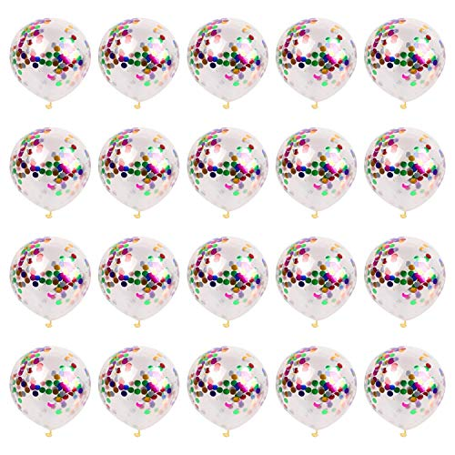 20pcs Confetti Balloons, 12inch Glitter Latex Balloon Roll Ball Ribbon for Party Decoration Wedding Engagement Birthday Graduation Teen Festivals (Colorful)