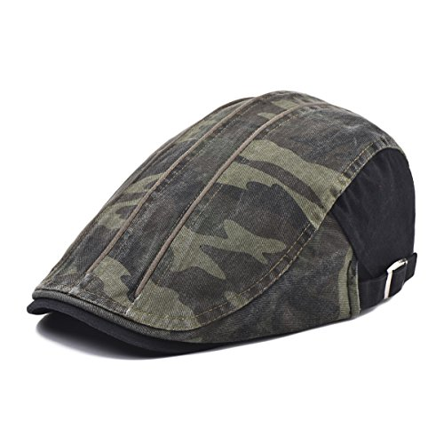 VOBOOM Men s Washed Cotton Driving Ivy Hat Newsboy Flat Cap Camouflage  Pattern a9c7f3e97e29