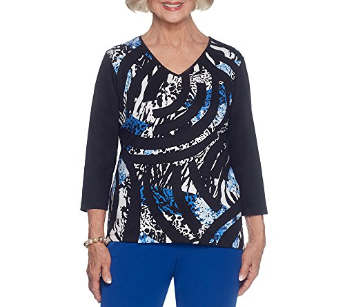 Alfred Dunner Petite Blouse (Alfred Dunner Petites' Knit Patchwork Roller Top Petite X-Large)