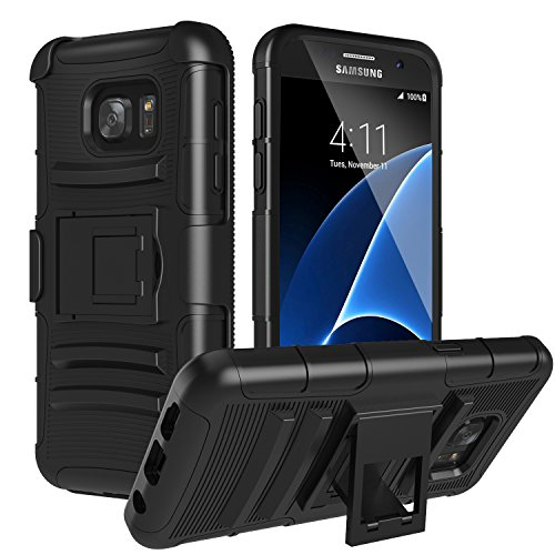 Galaxy S7 Case, MoKo Shock Absorbing Hard Cover Ultra Protective Heavy Duty Case with Holster Belt Clip + Built-in Kickstand for Samsung Galaxy S7 5.1 Inch (2016) - Black (NOT FIT Galaxy S7 Edge)