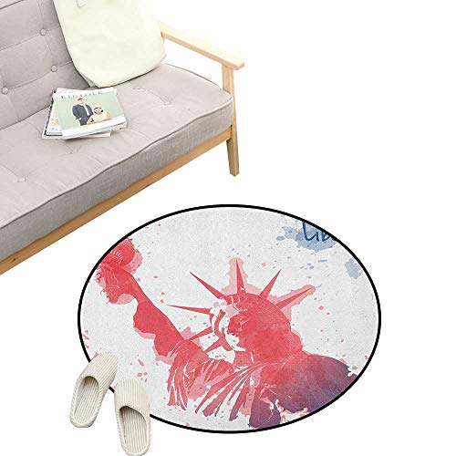 - 4th of July Custom Round Carpet ,Watercolor Lady Liberty Silhouette with Paint Splashes Independence, The Custom Round Non-Slip Doormat 23