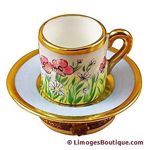 TEA CUP & SAUCER - LIMOGES PORCELAIN FIGURINE BOXES AUTHENTIC IMPORTS