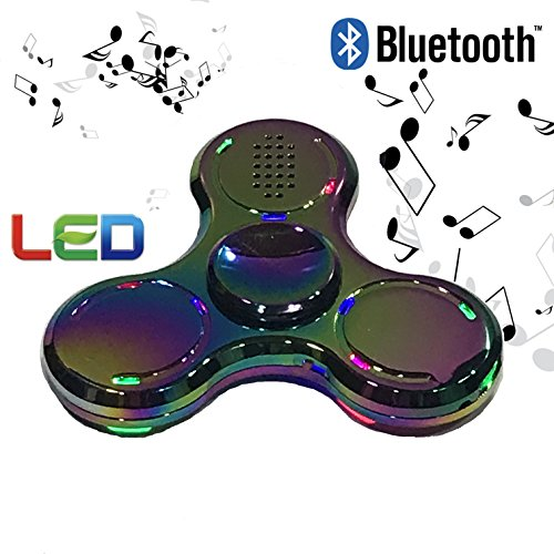 HAIL-SADES Prime Metal Rainbow Fidget Spinner with LED lights and Bluetooth Speaker best cool light up double sided toy with case and charger (rainbow)