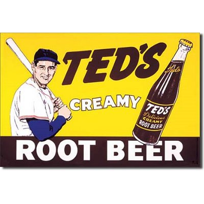 Creamy Teds Beer Tin Root - Ted Williams Creamy Root Beer Metal Tin Sign 16