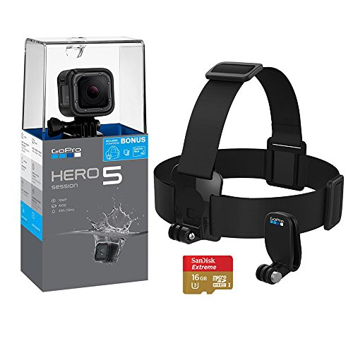 Go Pro HERO 5 Session 4K Action Camera Holiday Bundle with Head Strap and QuickClip, SanDisk Extreme 16GB SD Card by GoPro Hero