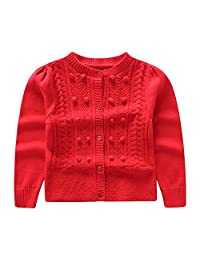 CJ Fashion Red Knit Cardigan Sweater for Toddler Girls 18M-6Y Long Sleeve