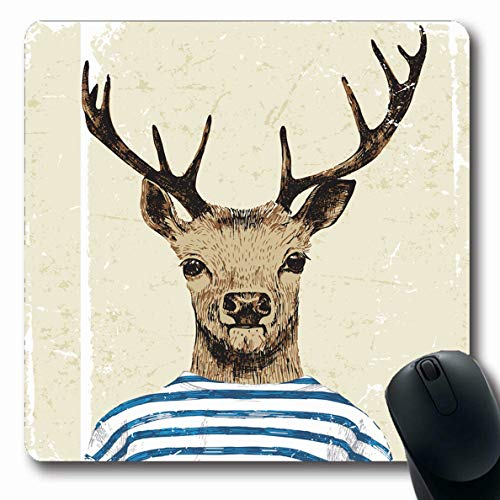 Ahawoso Mousepad Oblong 7.9x9.8 Inches Dressed Head Deer Hipster Anthropomorphic Anthropomorphism Body Design Office Computer Laptop Notebook Mouse Pad,Non-Slip Rubber