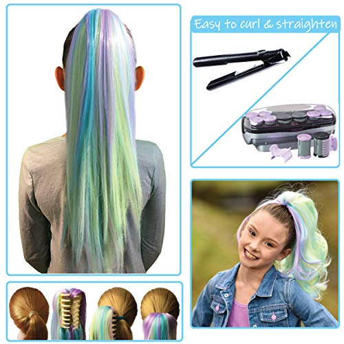 Unicorn Color Hair Extensions for Kids - Temporary & Not Messy like Hair Chalk - Great Birthday Gift for Kids 4-12, Girls & Teens (16