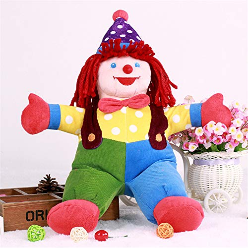 YODE Cartoon Jester Clown Droll Plush Figure Doll Soft Stuffed Colorful Collectible Figure Toys for Children - -