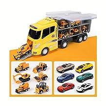 Siyushop Juego de Juguetes para Auto, Tractor Bulldozer Mezclador Camión Dumper Aleación Coche de Juguete, Niño camión de Juguete Boy-Perfect Boy Car Toy (12 Coches