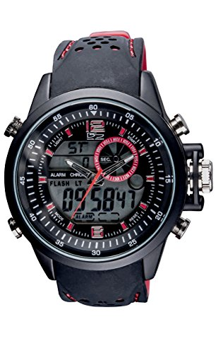 Daniel Steiger Momentum Red Dual Analogue & Digital Men's Watch - Hybrid Sports Watch - Durable Color Silicone Band - Digital Alarm & Calendar Functions - Water Resistant