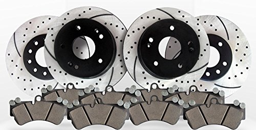 Approved Performance C1386 - [Front & Rear Kit] Performance Drilled/Slotted Brake Rotors and Ceramic -