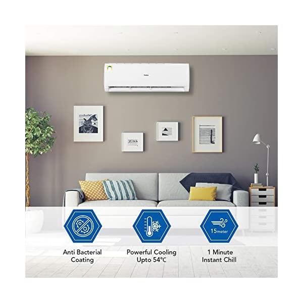 Haier 2 Ton 1 Star Split AC (Copper, High Density Filter, 2020 Model, HSU22T-TFW1B, White) 2021 August Split AC with Cooling In extreme Temperature of 54*C: designed and developed using high performance compressor Capacity: 2 Ton suitable for large sized rooms (Upto 200 square feet) Energy rating: 1 star, Annual energy consumption: 1499 KWH consumption, ISEER value: 3.15 (Please refer energy label on product page or contact brand for more details)