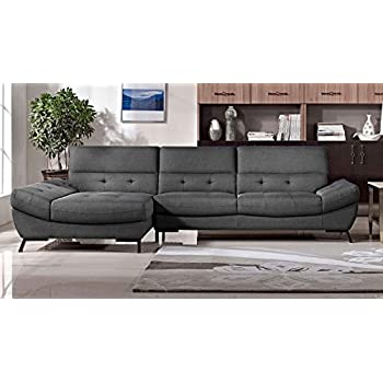 Modern Dark Grey Fabric Tufted Rider Sectional - Left Chaise