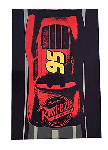 Cars 3 Lightning McQueen Plush Fleece Blanket 62 x 90 inches Red and Navy