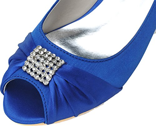 Wedding Satin 09 Blue Peep Bride 0700 Heel Dress Party Fashion Work Kitten Toe Ladies 37 Comfort Smart Sandals Rhinestone Bridesmaid Prom EU TwHSxqdzH
