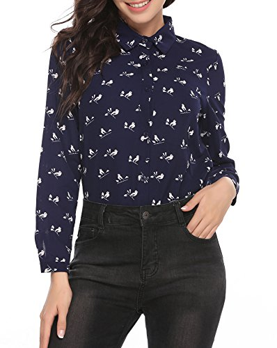 Pinspark Women's Fashion Collar Long Sleeve Print Casual Button Down Blouse Shirt (M, Navy-Chiffon) One Button Print Blouse