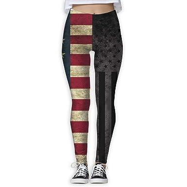 2e9501235614 Amazon.com  edawplan American Thin Blue Line Flag High Waist Out Pocket  Yoga Pants Tummy Control Workout Running Stretch Yoga Leggings  Clothing