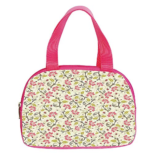 - Multiple Picture Printing Small Handbag Pink,Ladybugs,Curving Flower Design with Ladybugs and Retro Features Small Beetles Theme,Light Green Pink,for Girls,Comfortable Design.6.3