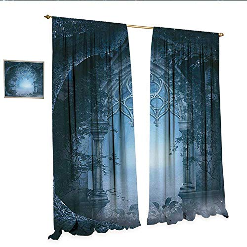 ape for Glass Door Passage Doorway Through Enchanted Foggy Magical Palace Garden at Night View Window Curtain Fabric W96 x L96 Navy Blue and Gray.jpg ()