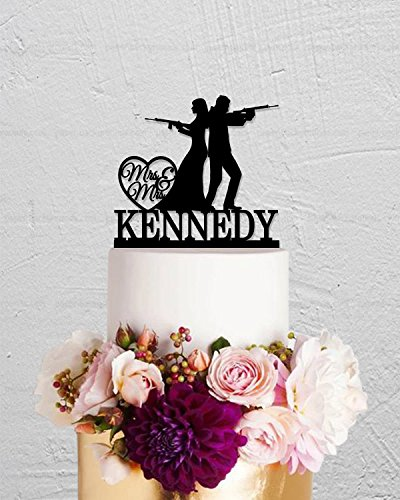 Gun Rifle Bride And Groom Rustic Custom Last Name Wedding Cake Toppers Letters Funny Wedding Anniversary Cake Topper Party Event Decorations Wedding Gift by Dikoum