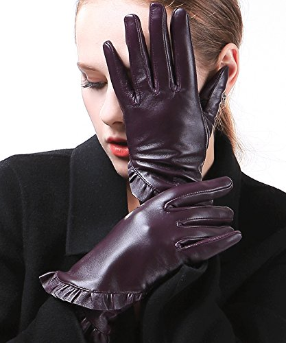 (Harrms Best Luxury touchscreen Italian Nappa Genuine Leather Gloves for women's Texting Driving Cashmere Lining)