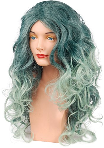 Loftus International Star Power Long Dark Forest Witch Druid Wig Turquoise Green One-Size Novelty Item