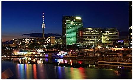 Austria casas ríos noche Viena ciudades sitios de viajes postal Post tarjeta: Amazon.es: Oficina y papelería