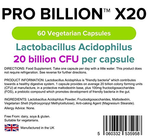 Lindens Probiótico X20 Lindens 20 000 millones de UFC ultrapotencia en cápsulas | 60 Paquete | Lactobacilo acidófilo ultrapotente para ayudar a la ...