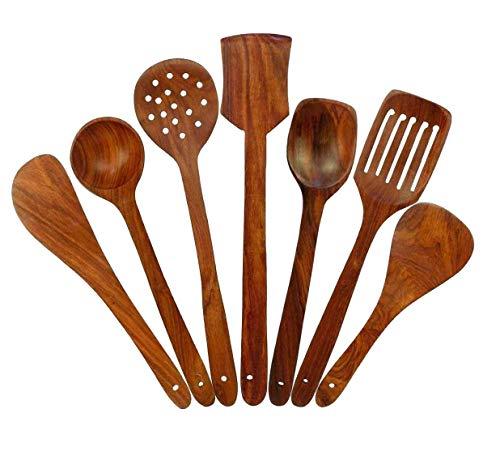 Ereteken ART Handmade Wooden Non-Stick Serving and Cooking Spoon Set of 7 (Brown)