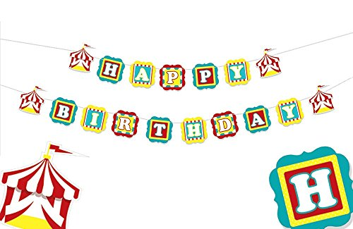 Happy Birthday Banner Circus Party Decorations 1st Birthday Party Decorations Circus Party Supplies Circus Birthday 1st Birthday Banner Carnival Birthday Elephant Birthday Decorations -