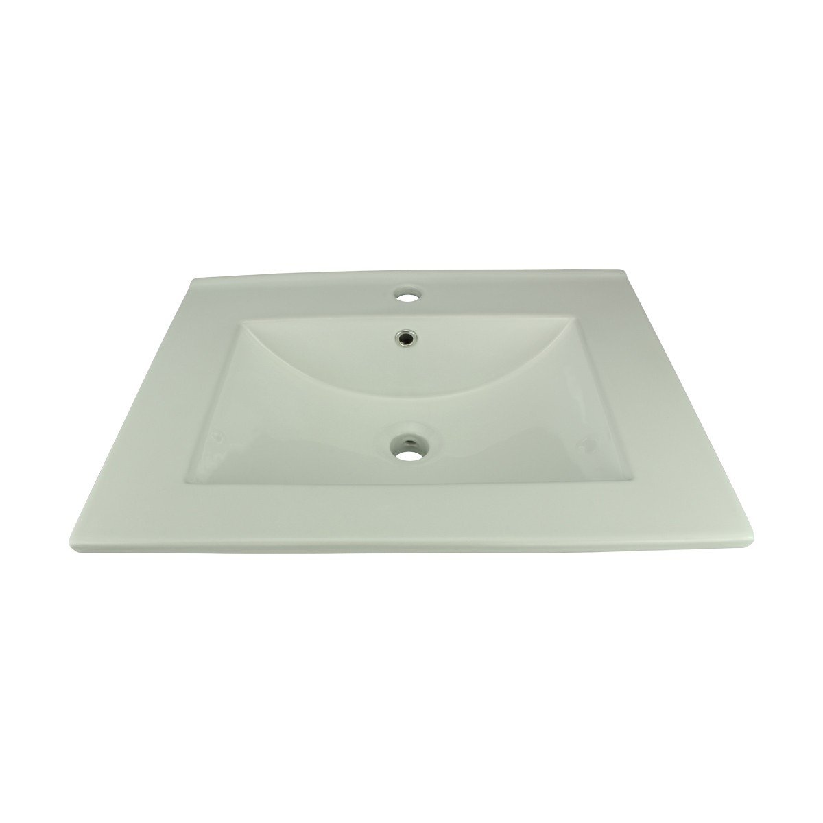 White Bathroom Drop in Sink Square Self-Rimming White China Sink with Single Faucet Hole by Renovator's Supply