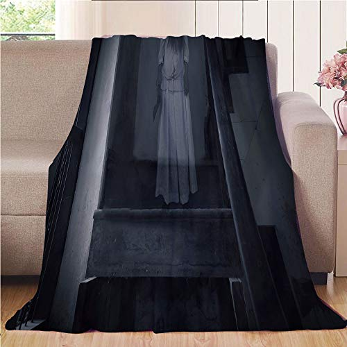 Blanket Comfort Warmth Soft Cozy Air Conditioning Fleece Blanket Perfect for Couch Sofa Or Bed,Halloween,Horror Scenery Ghost Girl Figure on Stairway Holding Axe Murder Violent Nightmare Decorative,Gr