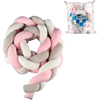 Luchild Baby Braided Crib Bumper Soft Snake Pillow Protective & Decorative Long Baby Nursery Bedding Cushion Knot Plush Pillow for Toddler/Newborn (Pink+White+Grey)