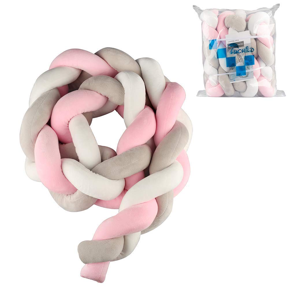 Luchild Baby Braided Crib Bumper Soft Snake Pillow Protective & Decorative Long Baby Nursery Bedding Cushion Knot Plush Pillow for Toddler/Newborn (Grey)