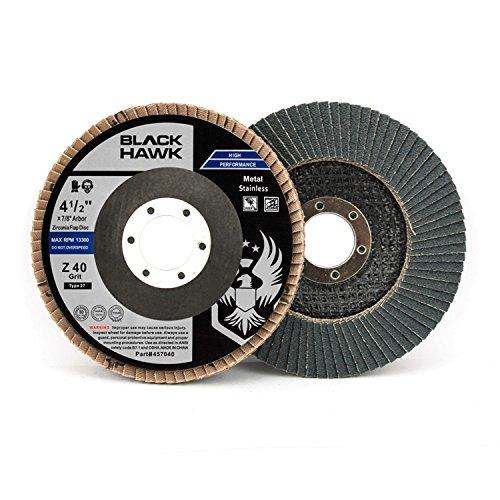 10 Pack 4-1/2'' x 7/8'' Black Hawk Zirconia Grinding & Sanding Flap Discs T27 (40 Grit)