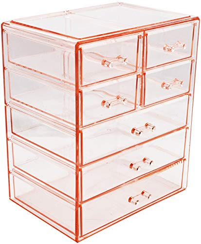 Sorbus Cosmetics Makeup and Jewelry Big Pink Storage Case Display- 3 Large and 4 Small Drawers Space- Saving, Stylish Acrylic Bathroom Case