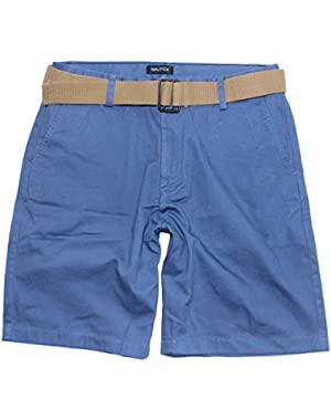 Men's Belted Flat Front Chino Short