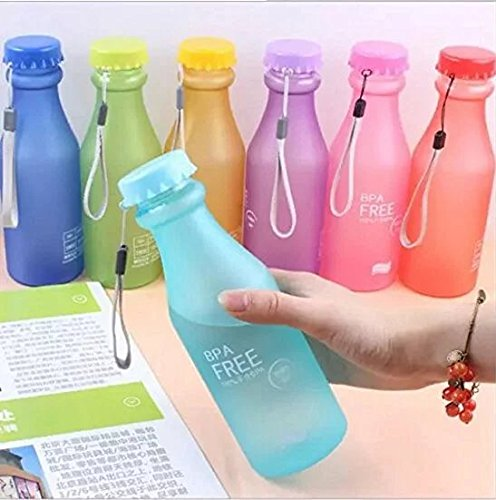 Doyime 1pc 550 ml Not Easy Breaking Frosted Bottle With Cover Leak Proof Creative Portable Water Cup Plastic Bottle Glass, red
