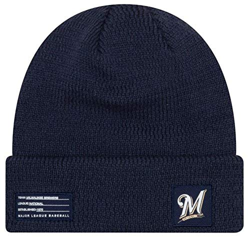 (New Era MLB Milwaukee Brewers Sport Stocking Knit Hat Beanie Cuff Skull Cap Navy)