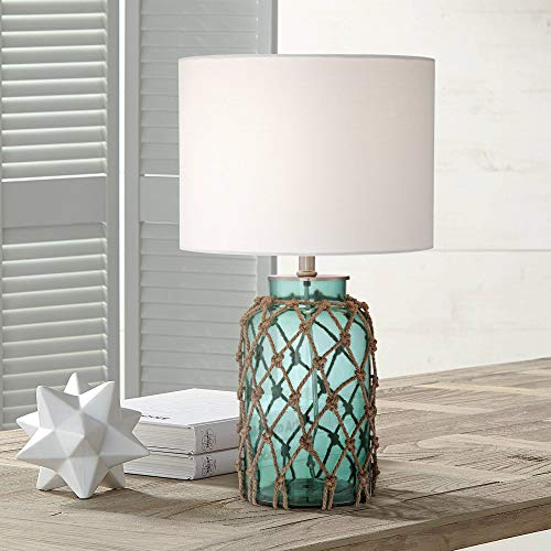 Crosby Nautical Accent Table Lamp Coastal Blue Green Glass Rope Net Off White Drum Shade for Living Room Family Bedroom - 360 Lighting (Aqua Seas Table Lamp)