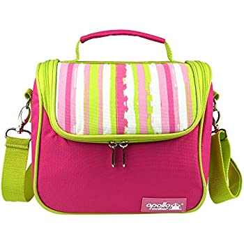 Goldwheat Waterproof Lunch Tote Insulated Lunch Bag Cooler Bag with 2 Detachable Liners and Shoulder Strap, Pink