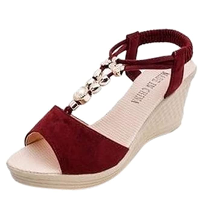 2c872abc8e41 AJPJ(TM)❤️Women Sandals Ladies Fashion Wedges Sandals String Bead Roman  Sandals Girls