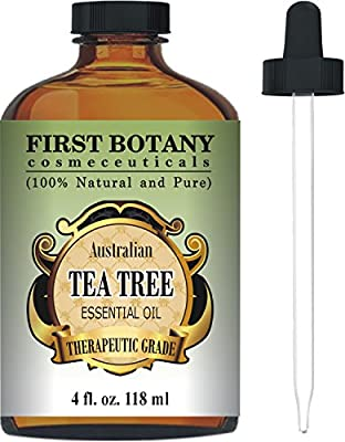 Tea Tree Oil (Australian) 4 Fl.oz. with Glass Dropper By First Botany Cosmeceuticals. 100 % Pure and Natural Premium Quality - A Classified Therapeutic Essential Oil- Legion Dermatological Benefits - Unadulterated, Concentrated Extract Natural Antiseptic